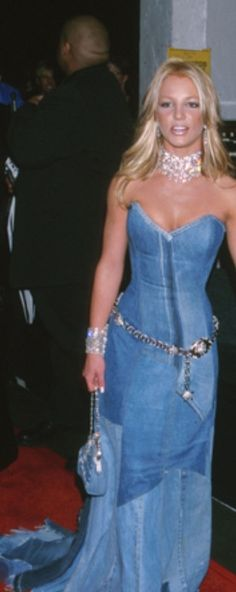 E is for...Denim EVENING GOWN. Yeah right you say, well check out this frock worn by Brittany in the 90's. It might be a far cry from the usual evening gown, but I say it fits the bill.  #denimdaze #boohoo