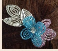 Pink Blue and Silver French Beaded Floral by CataleyaHandcrafts
