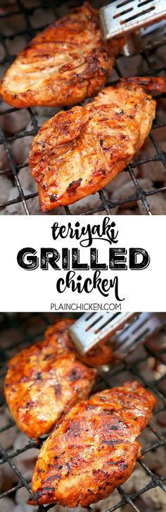 Teriyaki Grilled Chicken— Soy sauce, water, sugar, worcestershire, vinegar, oil, onion and garlic. Can use on pork or steak too. Keep a jar of the marinade in the fridge