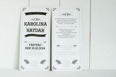 Einladungskarten - 60x hippe Hochzeitseinladung LOVE urban chic - ein Designerstück von schneidersfamilybusiness bei DaWanda