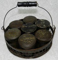 Antique Tin Primitive 7 Jar Spice Rack in Round Carrying Basket