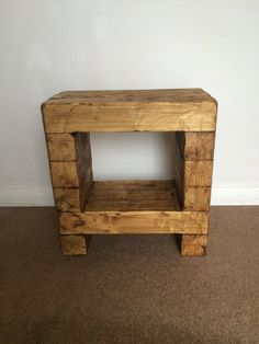 Rustic Handmade Side table / cube / beside wooden by Dudlewood