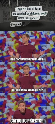 Russell Howard on Lego Russell Howard, British Humor, British Comedy, Funny Quotes, Funny Memes, Hilarious, Lol, Anti Religion, Catholic Religion