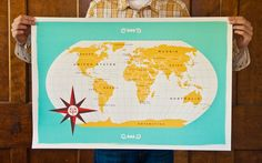 'Modern World Map' - hand-printed four color silkscreen by Jen Adrion + Omar Noory Maps For Kids, Map Globe, Shopping World, Showcase Design, Cartography, Map Art, Stationery, Canada, Australia