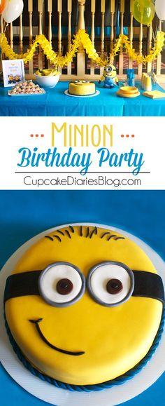 Preciosa torta para celebración de cumpleaños Minions
