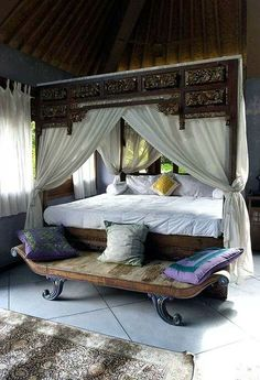 Moroccan Bedroom...love the bed.