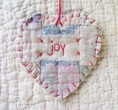 Wordz From the Heart Snippet Ornament JOY Stitched From Recycled Vintage Quilt Piece 2019 Vintage Quilt Ornament The post Wordz From the Heart Snippet Ornament JOY Stitched From Recycled Vintage Quilt Piece 2019 appeared first on Quilt Decor. Quilted Ornaments, Handmade Ornaments, Felt Ornaments, Handmade Christmas, Christmas Ornaments, Xmas, Primitive Ornaments, Old Quilts, Vintage Quilts