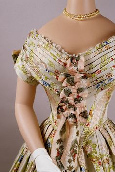 Evening dress of silk brocade, 1840s