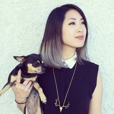 loving the grey ombre short hair  .... the dog is pretty cute too!