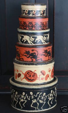 Vintage Halloween Primitive Painted Nesting Boxes 1 SET | eBay