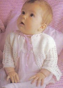 Free crochet pattern..pretty baby sweater using afghan hook.