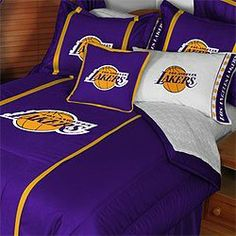 NBA Los Angeles Lakers Bedding Set - Comforter Sheets Full Bed by NBA. $125.49. Sheets are white and do not have the team logo. Pillowcases are white and have team logo. Machine washable. Genuine licensed merchandise. One NBA Los Angeles Lakers queen comforter, full flat and fitted sheets, and two pillowcases. One full/queen size comforter 86 x 86 inches (193 cm x 218 cm). One full flat bed sheet, finished size 81 x 96 inches (206 x 244 cm). One full fitted sh...