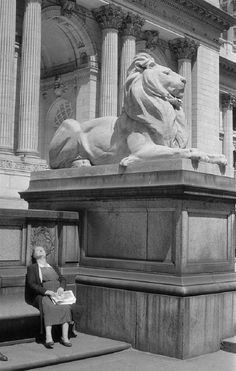 NYPL lion ... is that Patience or Fortitude? 1950's NYC.