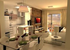 Cozinha com sala 19 Small Apartment Design, Condo Design, Small Apartments, House Design, Condo Living, Living Room Kitchen, Apartment Living, Small Space Living, Small Spaces