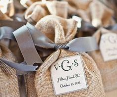 For anyone charmed by vintage style! The familiar feel of burlap comes back again and again as a reminder of life's true simplicity--the perfect accent for a wine tasting, a forest or mountain wedding, a backyard baby shower. There's a fun, burlap flower near the drawstring, and you can personalize the bag! #timelesstreasure