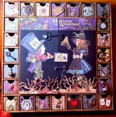 I love Alice in Wonderland + Altering things. I made this out of an advent calendar by Kaiser Kraft and Graphics 45 papers.