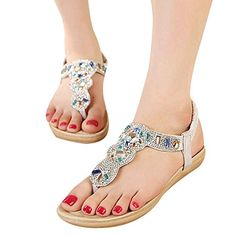 de5002eb4fd09 Bohemian Women Sexy Open Toe Ankle Straps Low Heel Sandals Bridal Shoes  Rhinestone Stud Beaded Flat