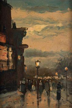 A Rainy Morning, Paris   -    Luigi Loir    French,1845-19    Oil on panel, 8.66 in. (22.00 cm.) x 6.10 in. (15.50 cm.)