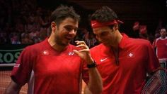 Caption this! What are Federer and Wawrinka saying to each other? ________________  (via @WawrinkaSupport)