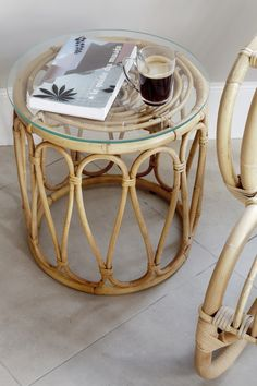 Table basse en rotin vintage KOK Maison