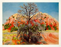 georgia okeefe paintings | ... Dead Tree Pink Hill Landscape Mountain Georgia OKeeffe Art | eBay