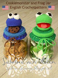 English Cookiemonster Kermit the Frog cookiejar pattern