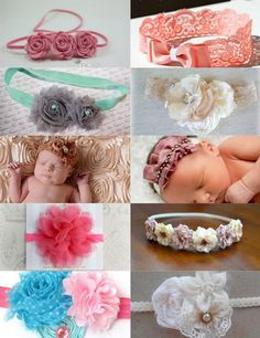 love the felt roses at top left and mauve gathered ruffle with jewels on top, third down on right