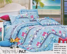 Lenjerie de pat bumbac pentru o persoana cu ursuleti colorati