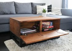 RYOBI NATION – DIY Storage Coffee Table Huntress needed a coffee table and more storage space. Check out the instructions on RYOBI Nation. Diy Storage Coffee Table, Coffee Table With Hidden Storage, Coffee Table Plans, Decorating Coffee Tables, Coffee Table Design, Diy Table, Storage Trunk, Coffee Table For Board Games, Ideas For Coffee Tables