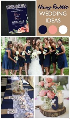 Navy Rustic Wedding Ideas - Love the contrast between the blush pink and navy blue colors - and Lace makes any setting look classy! Matching invitations by Memorable Imprints