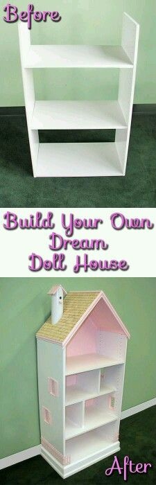 Build a barbie house out of a bookcase/shelving unit