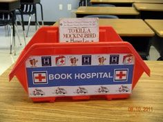 """""""Book Hospital"""" in your classroom library. No more little interruptions to tell me a book is torn or a page is falling out. Classroom Organisation, Classroom Setup, School Organization, Kindergarten Classroom, Classroom Management, Future Classroom, Classroom Procedures, Organizing, Classroom Libraries"""