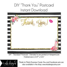 LipGloss Thank You Postcard, Makeup Artist Postcard, Template Instant Download - Notecard Invitation, Stationary, Lipgloss, Package Insert by MLAdesigns on Etsy https://www.etsy.com/listing/516834046/lipgloss-thank-you-postcard-makeup