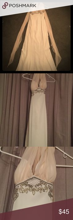 Niteline By Della Roufogali Grecian Gown Amazing gown . Gorgeous. In EUC . Size 6. Tiacetate, polyester and silk. Silk scarf neck tie back . Incredible beading. Della Roufogali Dresses Strapless