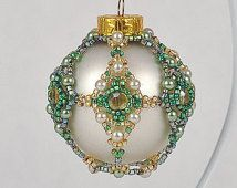 Sml Matte Pearl Colored Glass, Pattern Gold & Green Seed Beads, Faux Pearls