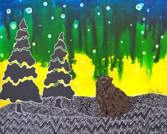 The Night is Wild - My Painted Path Northern Nights, Brown Bear, Paths, Original Paintings, Birds, Canvas, Artwork, Artist, Prints
