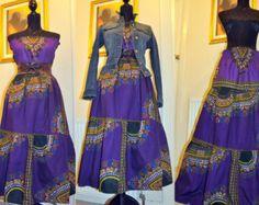 Bird print High collar dress by HouseofAfrika on Etsy