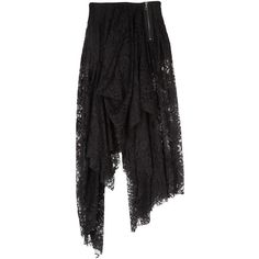 McQ Alexander McQueen Lace Asymmetric Skirt ($295) ❤ liked on Polyvore