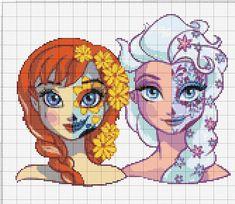 Disney Cross Stitch Patterns, Counted Cross Stitch Patterns, Pixel Art, Anna Und Elsa, Graph Paper Art, Pixel Pattern, Crochet Cross, Perler Patterns, Modern Cross Stitch