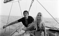Brigitte Bardot with Alain Delon in Saint-Tropez, Brigitte Bardot, Bridget Bardot, Alain Delon, Awesome Definition, Jean Luc Godard, Old Movie Stars, Sail Away, Luxury Yachts, Saint Tropez