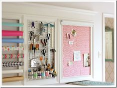 Craft room wall organizer and how to add a crown molding topper