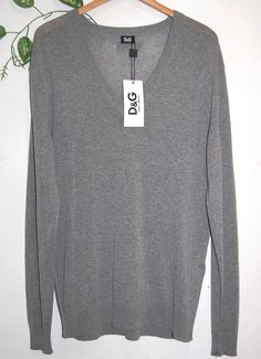 Dolce & Gabbana Gray Men  V Neck Thin Sweater Size US 44 EU 54 NEW Retail $415 #DolceGabbana #VNeck