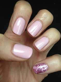 Jessica GELeration Bellini Baby with Pink Tourmaline loose glitter for a statement pinky. Created by Claire Newson.