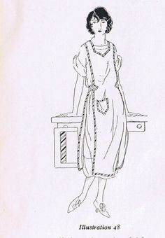 1920s - Apron History and a how to for this one piece apron with two more pieces on sides instructions here https://sites.google.com/site/apronhistory/home/1920s/panel-apron