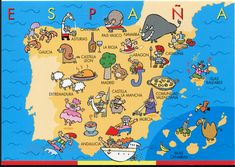 A map of Spain in silly images. Map Of Spain, Spain And Portugal, Spanish Lessons, Teaching Spanish, Spanish Class, Silly Images, Spain Culture, Spanish Speaking Countries, Tourist Map
