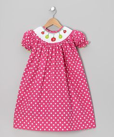 Take a look at this Hot Pink Polka Dot Xmas Bishop Dress - Infant, Toddler & Girls by Helene's Closet on #zulily today!
