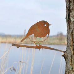 Roodborstje - metalen vogel voor in de tuin