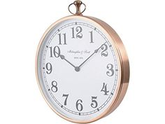 This gorgeously chic Montreal round copper wall clock will make a huge impression in any room, with its shiny copper surround which contrasts perfectly with the crisp white clock face. The striking design is completed by small details - the top hanging loop; the ornate hands and the bold numerals.