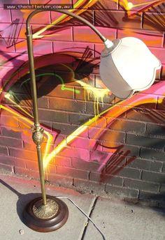 Lot 17 - Metal decorative standard lamp with gooseneck on wooden turned base