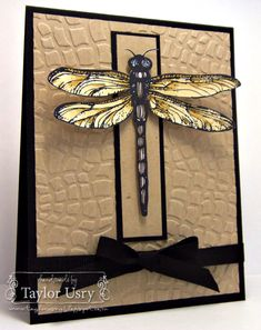 not a butterfly as focal point but almost.really like the clean and strong lines with textured layer, realistic dragonfly, and earthy colors.would be a great masculine card. Asian Cards, Bee Cards, Men's Cards, Butterfly Cards, Masculine Cards, Cool Cards, Creative Cards, Homemade Cards, Stampin Up Cards